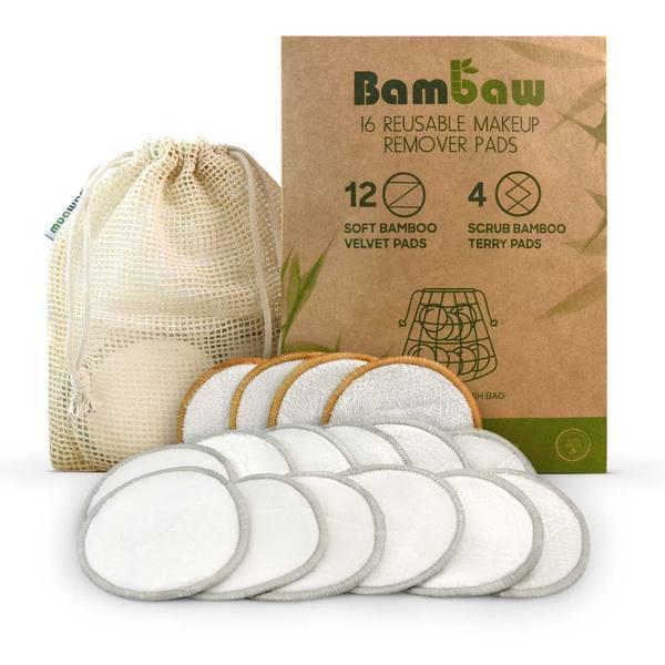 Bambaw Σετ 16 δίσκοι ντεμακιγιάζ από μπαμπού και θήκη πλυσίματος