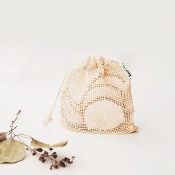 Bambaw Σετ 10 δίσκοι ντεμακιγιάζ από μπαμπού και θήκη πλυσίματος