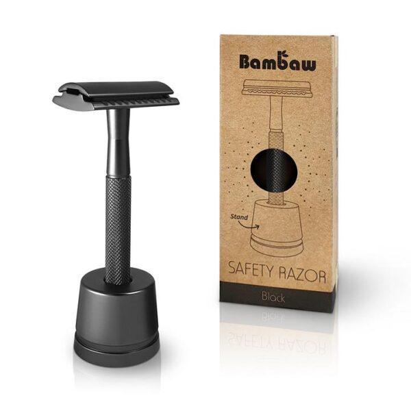 Bambaw Επαναχρησιμοποιήσιμο ξυράφι ασφαλείας Black με βάση