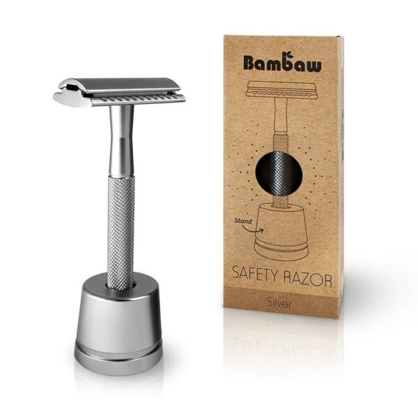 Bambaw Επαναχρησιμοποιήσιμο ξυράφι ασφαλείας Silver με βάση