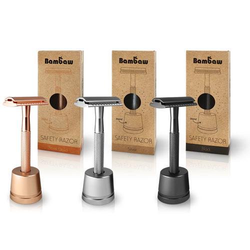 Bambaw Επαναχρησιμοποιήσιμο ξυράφι ασφαλείας Rose Gold με βάση