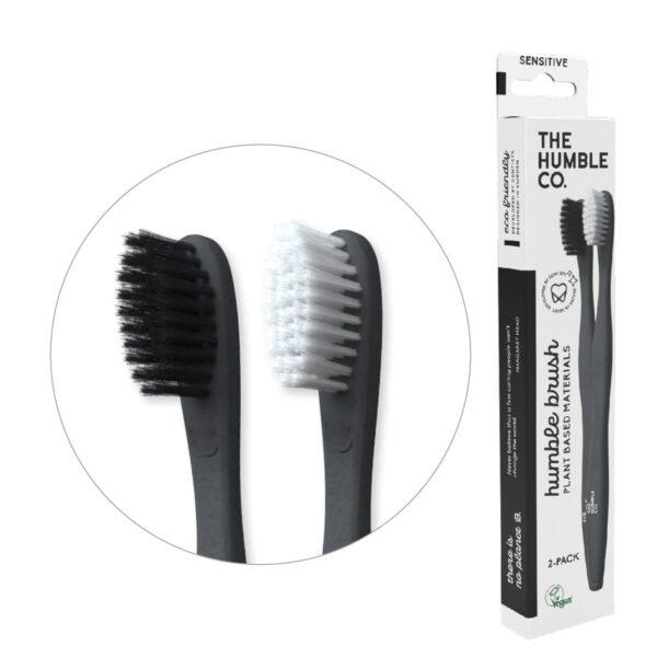 Humble ΣΕΤ οδοντόβουρτσες ενηλίκων φυτικής βάσης Sensitive 2τμχ (Άσπρο,Μαύρο)