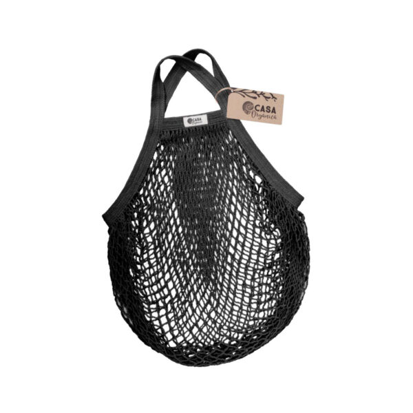 Casa Organica Organic cotton net bag with short handle - Black