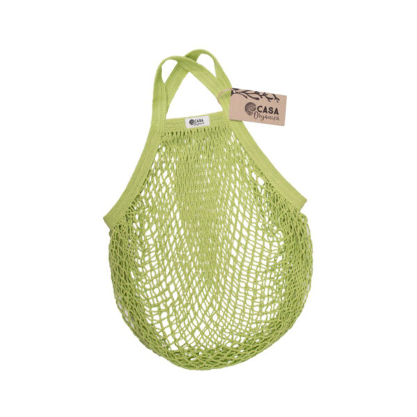 Casa Organica Organic cotton net bag with short handle Lime