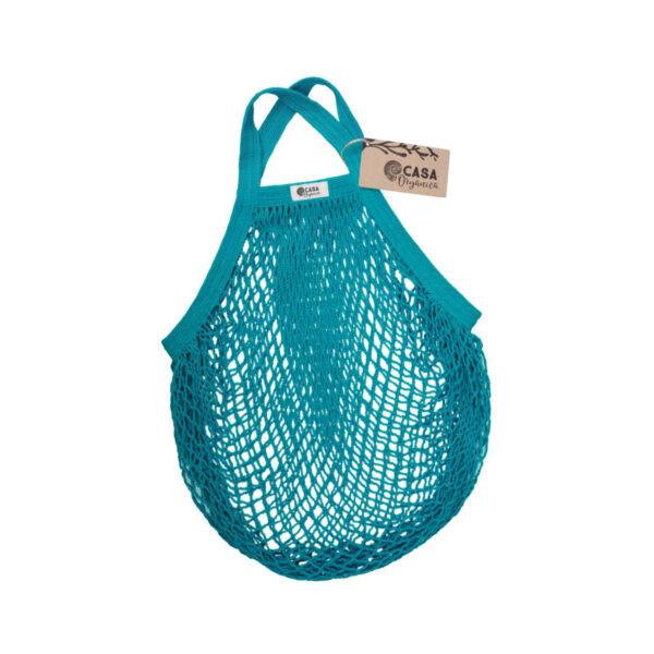 Casa Organica Organic cotton net bag with short handle - Teal