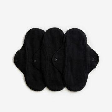 ImseVimse Υφασμάτινες σερβιέτες από βιολογικό βαμβάκι Classic Black Regular/Day 3τμχ